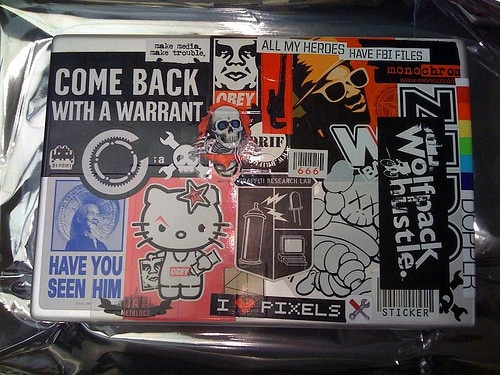 stickers on laptop