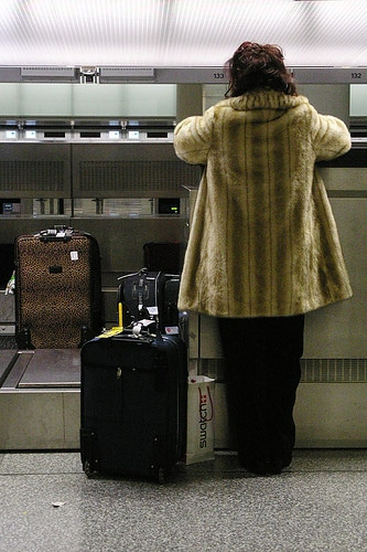 woman at airline check in