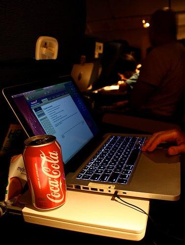 laptop on a plane