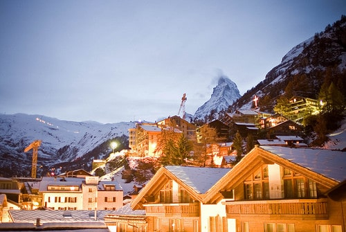 zermatt switzerland at night